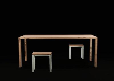 Sgabelli e tavolo in Baubuche