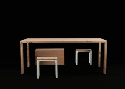 Sedia, sgabello e tavolo in Baubuche