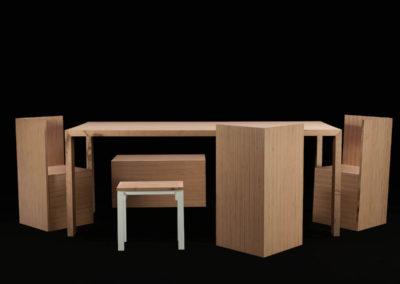 Sedie, sgabello e tavolo in Baubuche